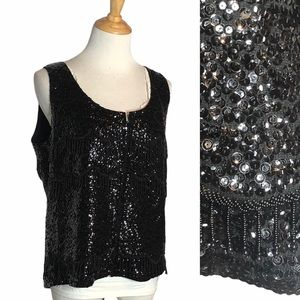 Vintage Lord + Taylor Beaded Sequin zip Front Tank